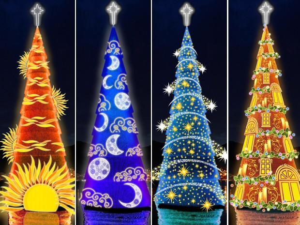 Плавучая Рождественская елка на озере Лагоа