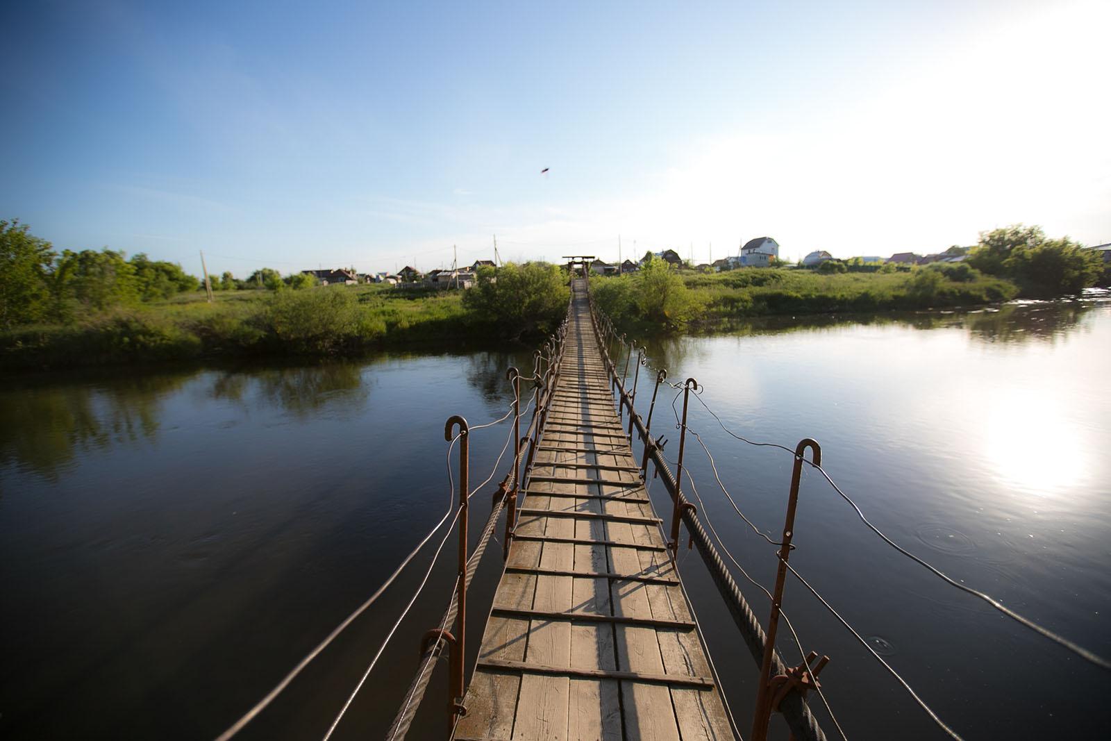 Подвесной мост через Миасс