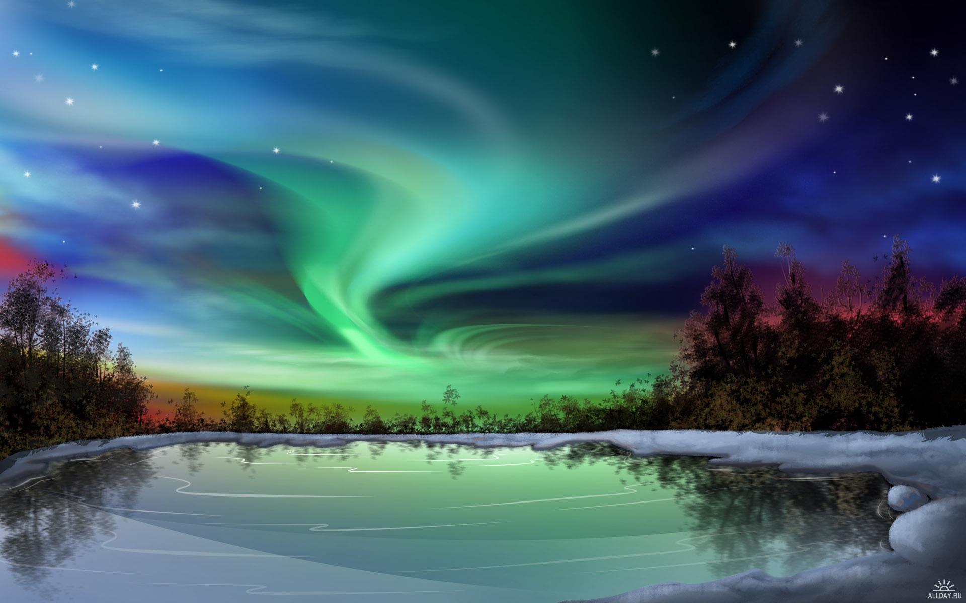 Водный мир. Фьорды, озера и северное сияние